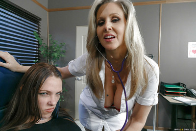 Golden-haired nurse Julia Ann astonishingly fellow at the same time as his girlfriend sleeps