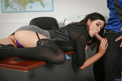 Brunette hair chico Kendall Karson has her gentile penetrated in the office