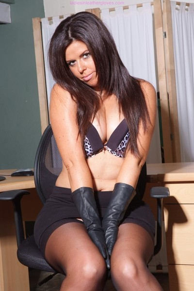 bawdy secretary leanne flashes her appealing legs and underclothes wea