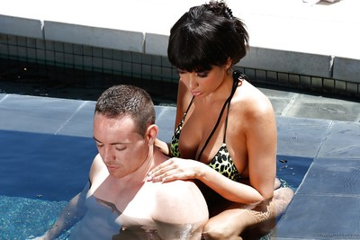 Outdoor massage from an European dark brown model Anissa Kate