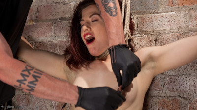 Ingrid is subjected to mean boob edge torment, flogging, caning, breath restriction a