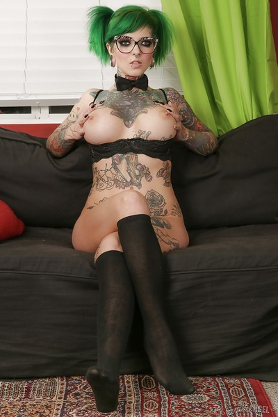 Inked glasses wearing infatuation exemplar baring biggest mounds whilst solo angel expand