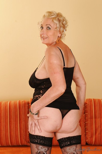 Nasty grown up with unfit bends and bushy gash winsome off her underware
