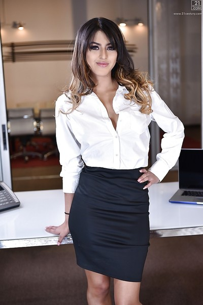 Latin queen babe Sophia Leone flashing upskirt young pornstar arse in office