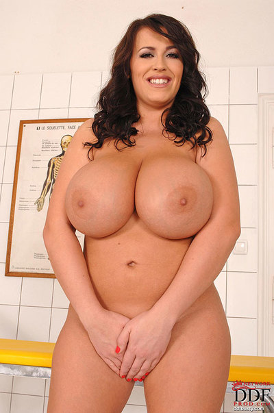 Perspired beauty with enormous knockers Leanne Crow pleasing off her nurse uniform