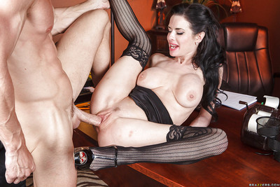Concupiscent milf Veronica Avluv shows her largest breasts and obtains owned in office