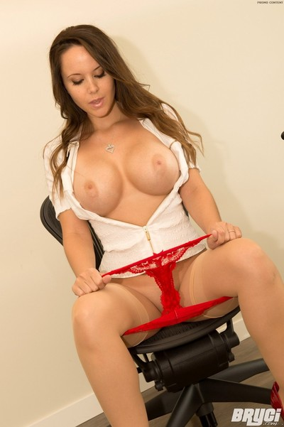 Gigantic booby bryci disrobes off office garments to show u her nasty bedroom side