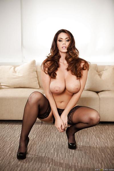 Allustrious pornstar dear Alison Tyler caresses her oiled boulders