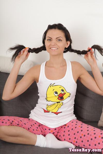 Tessa ray in appealing pajamas
