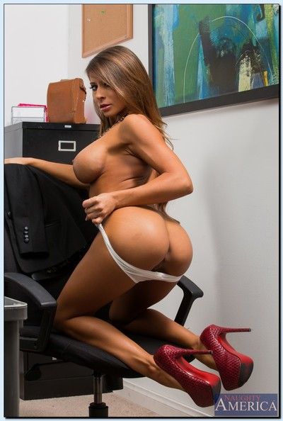 Spectacular office model Madison Ivy striptease and swelling her lower than lips