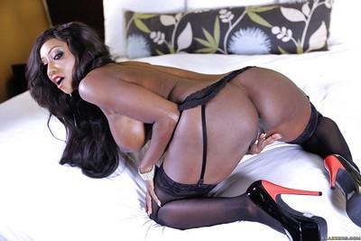 Fabulous black milf Diamond Jackson seduces her own chocolate muff