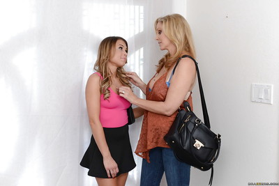 Blond mamacita Julia Ann and young wench Kendall Kayden engulf and journey pecker