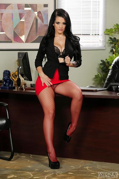 Breasty brown hair pornstar Katrina Jade flashing shorts on secretary