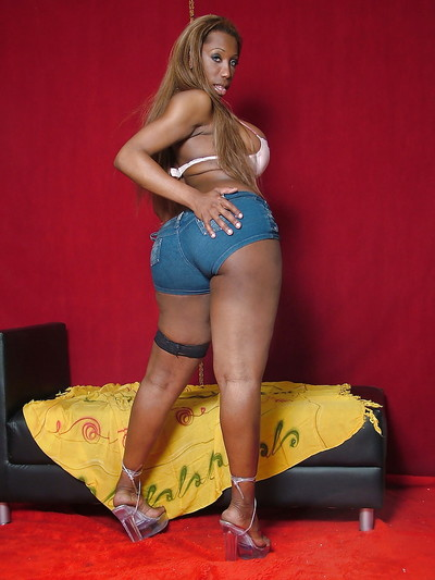 Heavy black lady-man Jackeline Brazil showing off massive boobs and mammoth ass