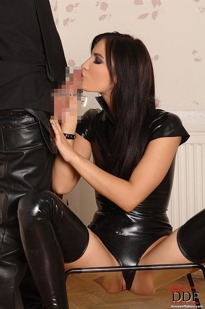 Latex and high heel wearing chico giving and receiving blowjob slavery