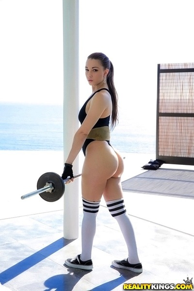 Lalin girl hottie Alexis Rodriguez working out in spandex and covert socks