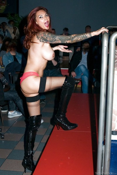 Rounded Oriental MILF Tera Ratrick dancing around stripper pole in boots