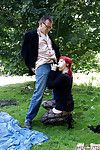 Unconventional redhead hottie in tube Foxy gains dug in public place