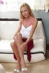 Charming blond stripped off and toys pink vagina