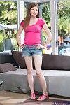Wiry coed in jeans underwear Lara Brookes striptease and swelling her legs