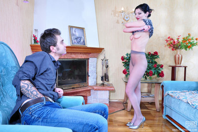 Pleasant raven-head gets rimmed and ass banged thru her sheer-to-waist hose