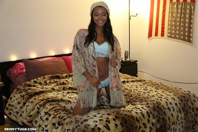 Ebony babe harley stroking her boyfriend big schlong