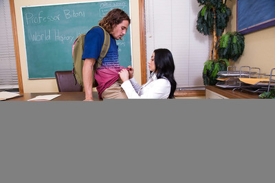 Cougar Milf teacher Audrey Bitoni in high heels gives head to student