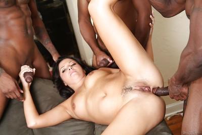 Interracial groupsex features Danica Dillon enjoying gangbang
