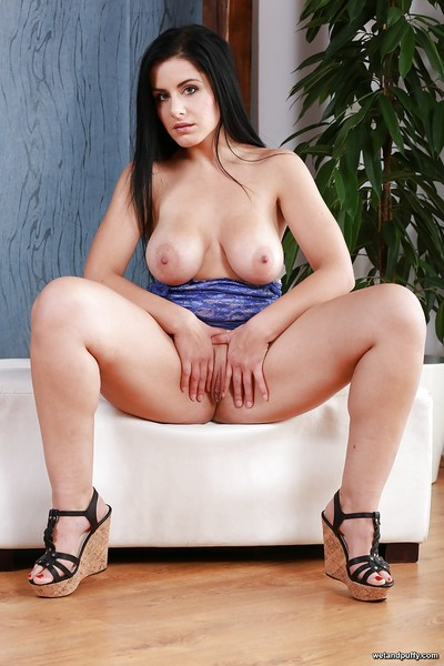 Brunette solo girl Alex Black lets slip large all natural tits and bald cunt