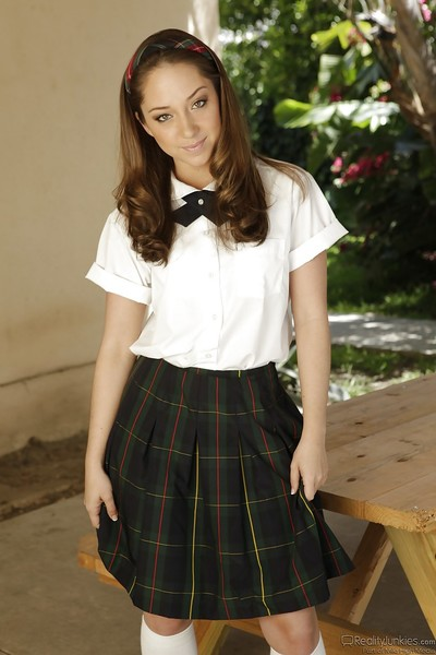 Nasty schoolgirl with tiny love melons Remy LaCroix smoking and stripping