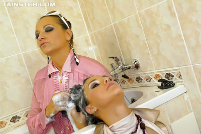 Infatuation babe Gina Killmer is likes fully clothed lesbo action in the shower-room