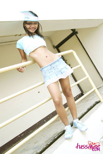 Thai pretty upskirt action outdoors and she has no shorts