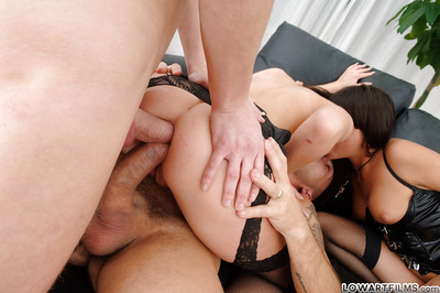 Lascivious anal sluts having pleasure with a enormous strapon and with fat hard cocks