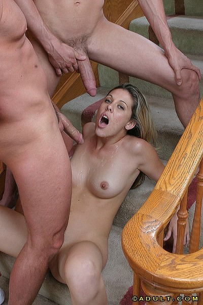 Sultry coed enjoys intense FMM two men plus one female and gets facialized