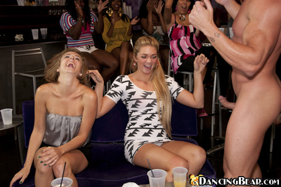 Big tits beauties do handjobs and blowjobs on a clothed party