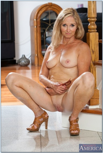 Wrinkled yet sexy and flexy older Annabelle Brady stripping