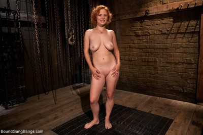 Wild babe benefits from tied up, punished and fucked by group of guys