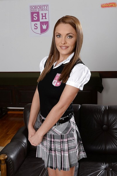 Beautiful Euro babe Dominica Fox posing for naughty pics in schoolgirl outfit