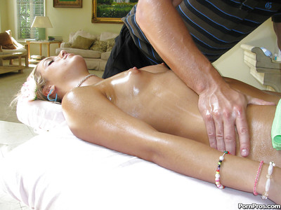 Juvenile babe Kara Novack gets a spunk fountain on her face after the massage