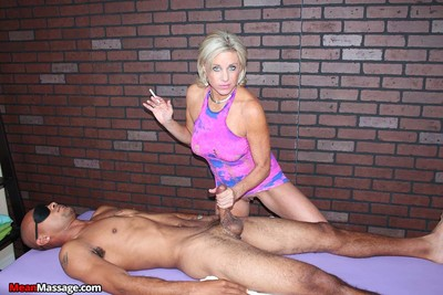 Milf slut payton hall massaging and milking black cock