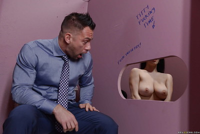 Juvenile girl Noelle Easton and her big naturals spend time at the gloryhole