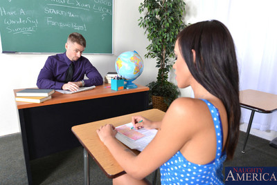 Molly Bangs bangs her teacher right on his desk.