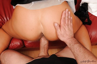 Muddy blonde granny playing with her banging toys and with a taut dick