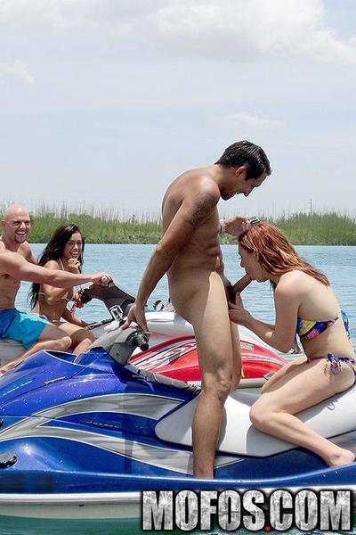 These two amateur sluts were out on the water, flashing their tits and giving blowjobs while they zipped around the lake on jetskis. After that they took the party back to their boat so they could get their tight amateur pussies fucked!