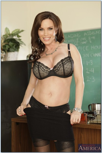 Sexy MILF teacher in underware is equipped for a proper sex lesson