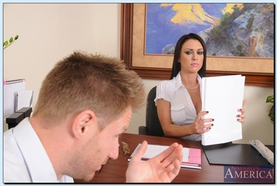 Charming office wench gets slammed and takes a cumshot on her tongue