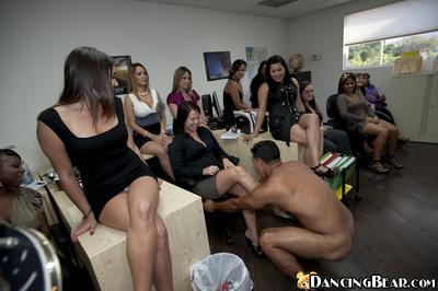 Nasty office girls jerking and sucking a stripper