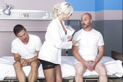 Horny blonde nurse Gigi is measuring that dick with her mouth