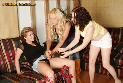 Three lasses wish to see what it s get pleasure to have a penis so they use the caretaker