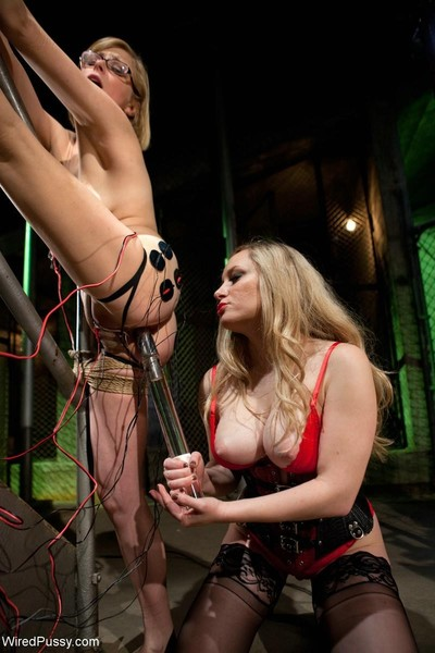 Babe gets tied, tortured with electricity and fucked by lezdom